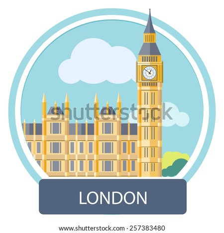 Big Ben and Westminster Bridge, London, UK. Poster concept in cartoon style with text - stock vector