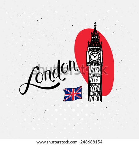 Big Ben, London, UK vector illustration over an abstract red oval with the Union Jack and handwritten text on a textured white background - stock vector