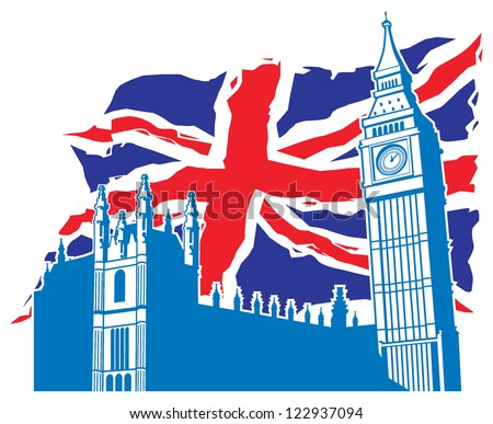 big ben of london with union jack as a background - stock vector