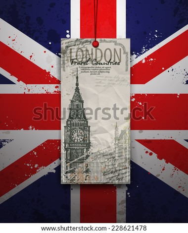 Big Ben Tower. London Landmark. Vector Hand-drawn Sketch Illustration. Vector format - stock vector