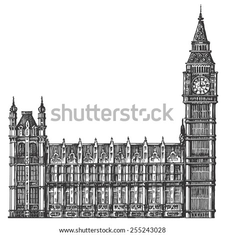 big Ben vector logo design template. London or United Kingdom icon. - stock vector