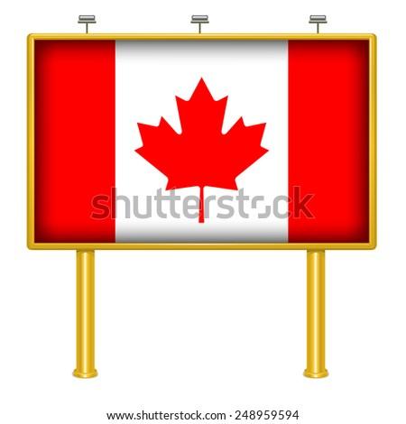 Big billboard Canada flag - stock vector