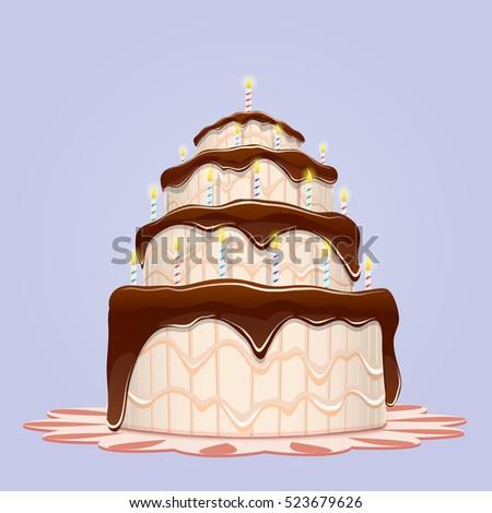 Big Birthday Cake With Candles Vector Illustratio