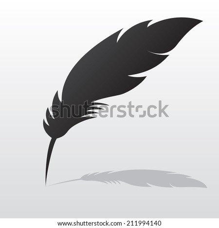 Big black feather silhouette with shadow. eps10
