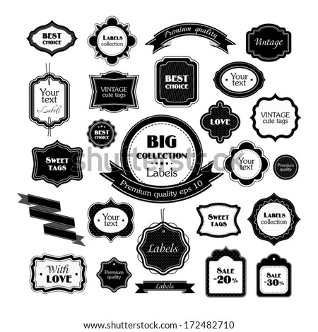 Big black labels collection - stock vector