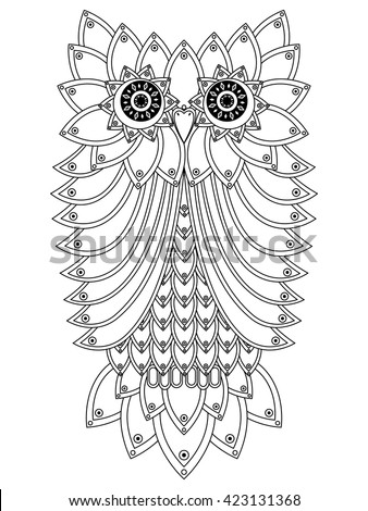 Big black ornamental owl outline isolated on a white background, cartoon vector illustration - stock vector