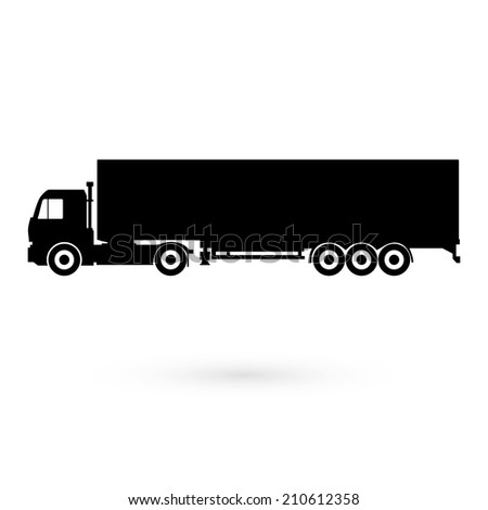 Big black truck. Vector. - stock vector