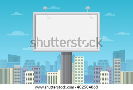 Big blank billboard in cityscape background shape. Billboard advertisement commercial blank. - stock vector
