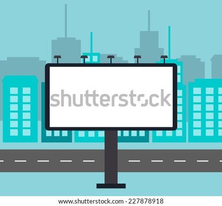 Big blank billboard in the city near road, vector illustration  - stock vector