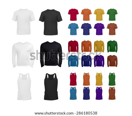 Big blank t-shirt and top collection for men, realistic vector eps10 illustration. - stock vector