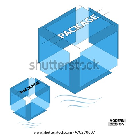 Big blue packing box in a 3D isometric view, in cross-section, with inscription on top. Layered structure of a box or package. Vector