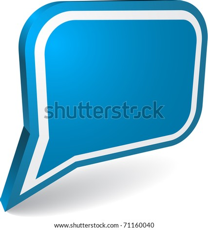 Big blue speech bubble with white frame - stock vector