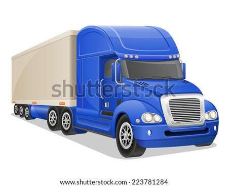 big blue truck vector illustration isolated on white background - stock vector