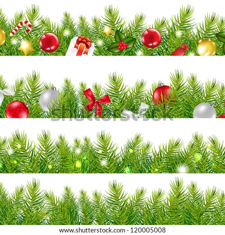 Big Borders Set With Christmas Tree, With Gradient Mesh, Vector Illustration - stock vector