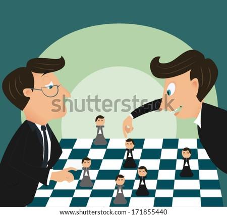 Big boss playing chess using businessman  - stock vector
