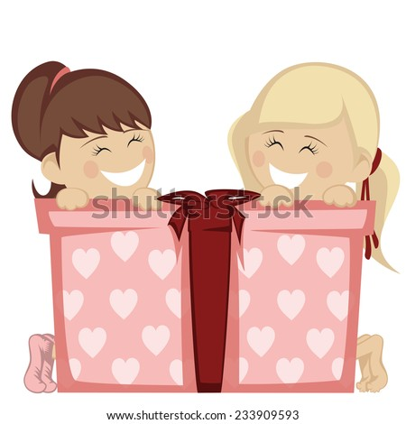 Big box surprise - Two little girl (blonde and brunette haired) smiling with a big gift box.