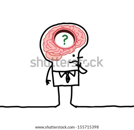 big brain man & memory disorders - stock vector