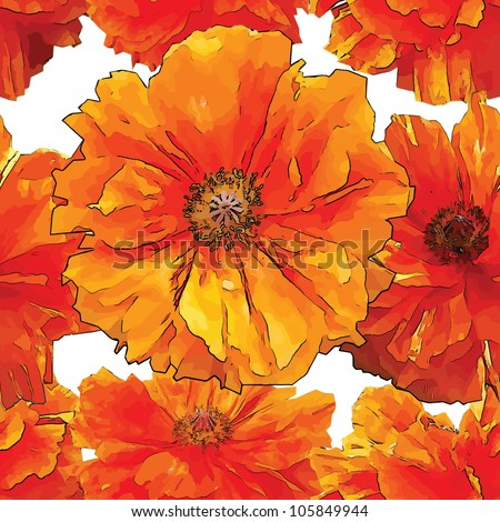 Big bright red poppy seamless pattern with empty background - stock vector