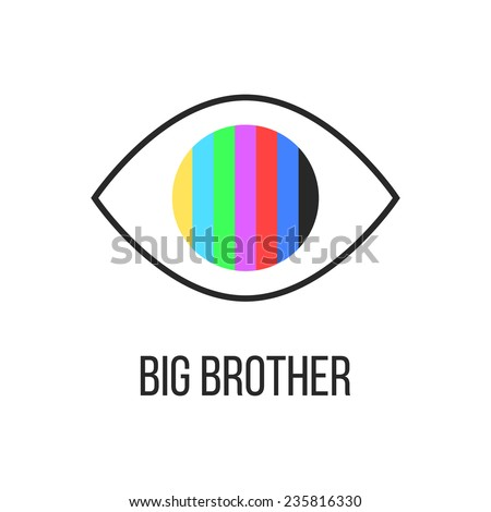 big brother is watching you from TV. concept of see hacking, unauthorized access, influence on the consciousness of society. isolated on white background. trendy modern logo design vector illustration - stock vector