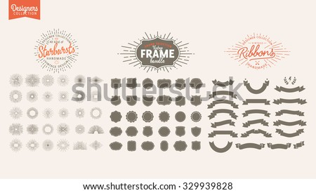 Big Bundle of Premium design elements. Great for retro vintage logos. Starbursts, frames and ribbons Designers Collection - stock vector