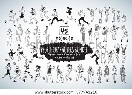 Big bundle people characters doodles black and white icons. Vector illustration. EPS10 - stock vector