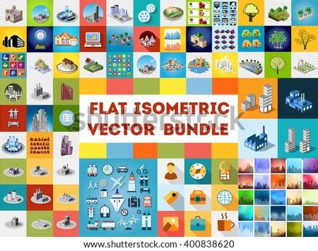 Big bundle set of design templates, design elements, isometric objects buildings - stock vector