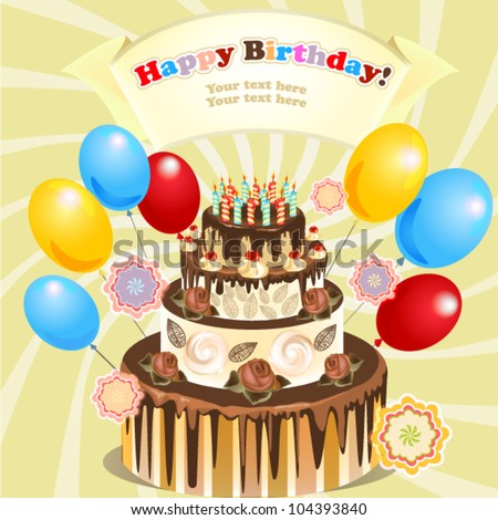 Big Cake Candles Balloons Original Birthday Stock Vector HD Royalty
