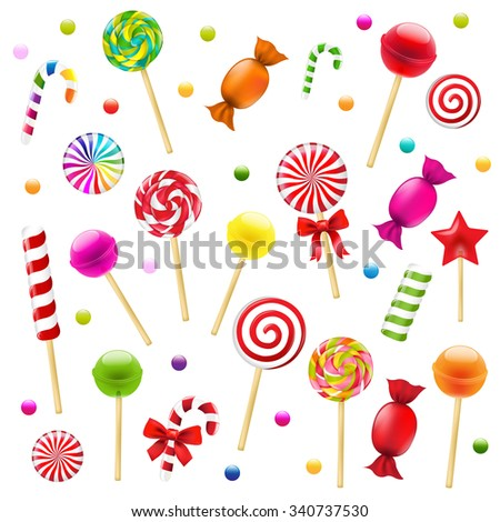 Big Candy Set With Gradient Mesh, Vector Illustration - stock vector