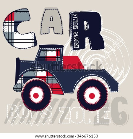 big car cartoon for boys, T-shirt design vector illustration - stock vector