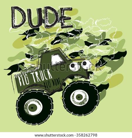 big car for boys, T-shirt design vector illustration - stock vector