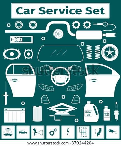 Big car service icons set, vector illustration - stock vector