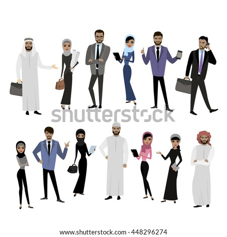 Big cartoon set of Arab men and women in different clothes and characters, isolated on white,stock vector illustration