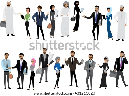Big cartoon set of Arab men and women in different clothes and characters, isolated without background,stock vector illustration