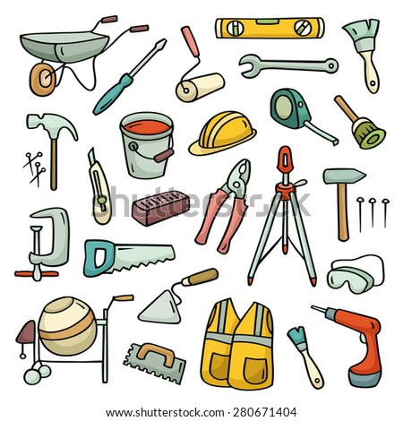 Big cartoon set of  operating tools. Cute collection of building subjects. Hand-drawn vector illustration isolated on white. Each element is grouped separately. - stock vector