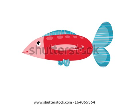 big cartoons red fish on white background - stock vector