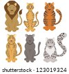 Big Cats of the World - stock vector