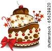 Big chocolate cake - stock vector