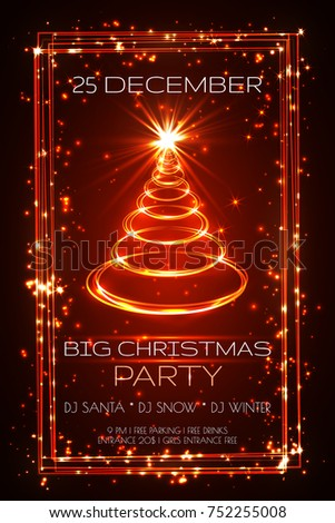 big christmas party greeting card, vector.