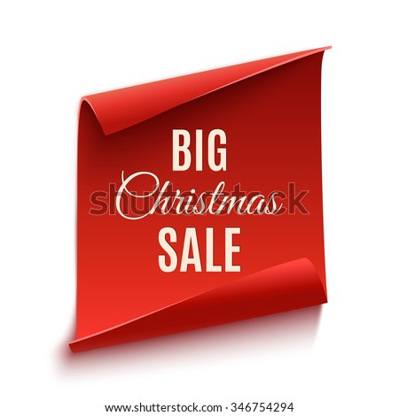 Big Christmas sale poster, isolated on white background. Red, curved, paper banner. Vector illustration. - stock vector