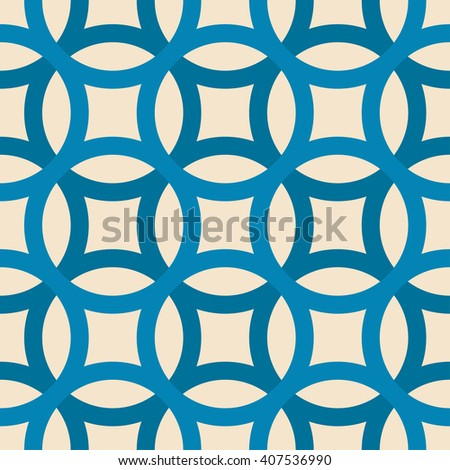 Big circles crossed seamless pattern blue - stock vector
