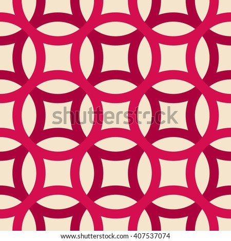 Big circles crossed seamless pattern pink - stock vector