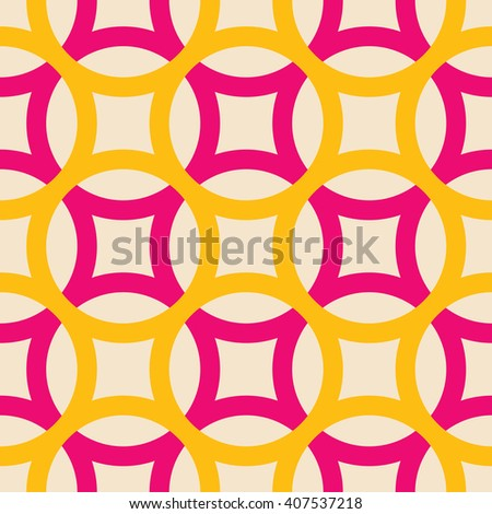 Big circles crossed seamless pattern pink yellow - stock vector