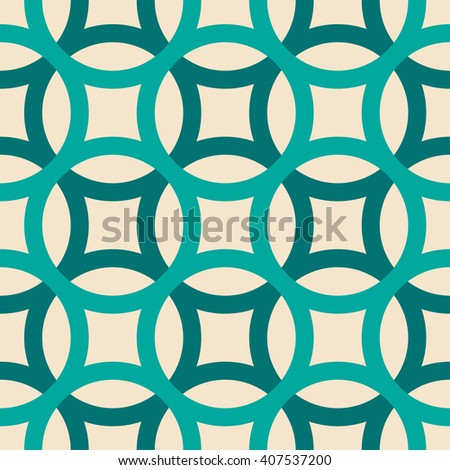 Big circles crossed seamless pattern turquoise - stock vector