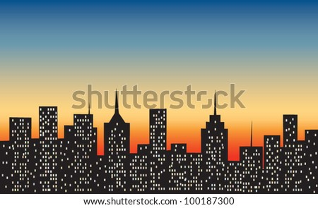 big city at sunset
