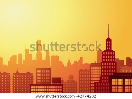 big city at sunset - stock vector
