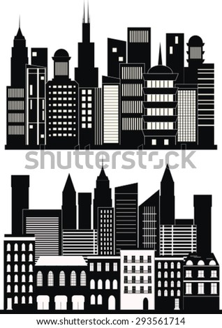 Big city background in black and white. Vector
