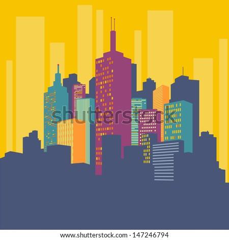 Big city buildings - stock vector