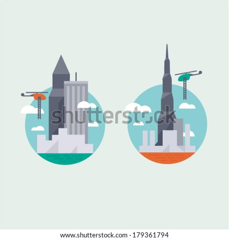 Big city helicopter - stock vector