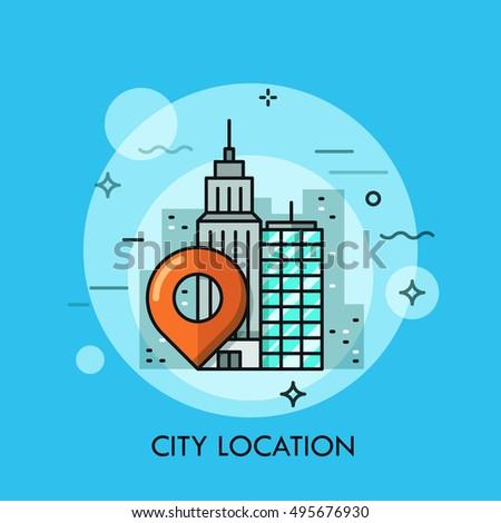 Thin Line Flat Design Business City Stock Vector 279071801 ...