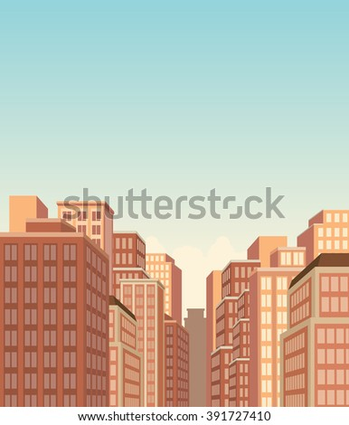 Big city landscape with buildings - stock vector